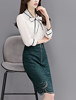 Women's Bow spring fashion bow blouse lace skirt suit two-piece