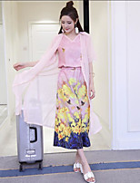 Sign 2017 spring fashion nine points wide leg pants chiffon gown digital printing three-piece suit +