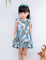 Girl's Beach Floral Dress,Cotton Summer Spring Sleeveless