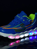 Sneakers Spring Fall Winter Comfort PU Athletic Flat Heel Lace-up Blue Red Light Blue