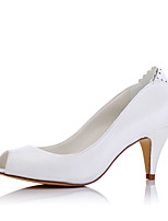 Heels Spring Summer Fall Comfort Fabric Wedding Party & Evening Dress Cone Heel White