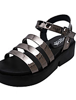 Sandals Spring Comfort PU Casual Flat Heel Others Black White Gray