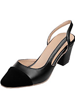 Women's Clogs & Mules Summer Slingback Leatherette Office & Career Dress Party & Evening Chunky Heel Split Joint