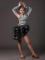 Latin Dance Dresses Girls Performance Milk Fiber Crystals/Rhinestones Pleated Ruched 3 Pieces Long Sleeve High Skirt Neckwear Bracelets