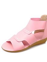 Sandals Spring Summer Fall Comfort Light Soles PU Outdoor Dress Casual Flat Heel Zipper Blue Pink Beige