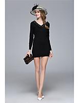 Для женщин На выход Вечеринка/коктейль Секси Очаровательный Облегающий силуэт Платье Однотонный,V-образный вырез Мини Длинный рукав