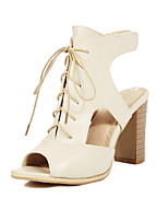 Sandals Spring Summer Fall Slingback PU Office & Career Party & Evening Dress Chunky Heel Lace-up Black Beige
