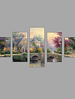 HD Print European Castle scenery Painting Wall Art 5pcs/set Home Decor (No Frame)