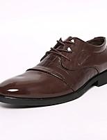 Черный Коричневый-Для мужчин-Свадьба Для офиса Для вечеринки / ужина-Лакированная кожа Дерматин-На толстом каблуке Блочная пятка-Удобная