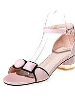 Sandalen-Büro Kleid Party & Festivität-Leder-Blockabsatz-Club-Schuhe Komfort-Rosa Weiß