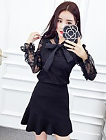 Sign 2017 spring new lace bow blouse fishtail skirt suit Nett +