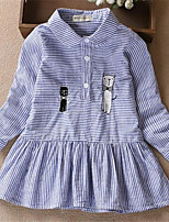 Girl's Striped Dress,Cotton Summer Spring Fall Long Sleeve