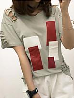 Damen Druck Einfach Lässig/Alltäglich T-shirt,Rundhalsausschnitt Frühling Sommer Kurzarm Polyester Mittel