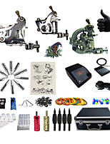 Kit de tatouage complet 2 x Machine à tatouer en acier pour le traçage et l'ombrage 3 Machines de tatouage Source d'alimentation LED
