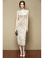 I-YECHO Women's Going out Party/Cocktail Sexy Cute Chinoiserie A Line DressFloral Stand Above Knee Short Sleeve Beige Cotton PolyesterSpring