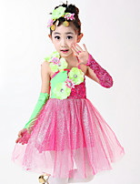 Ballet Dresses For Girls Child's Performance Polyester Appliques Ruched Splicing 2 Pieces Sleeveless High Dress Headpieces