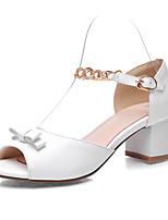 Белый Бежевый Розовый-Для женщин-Для офиса Для праздника Для вечеринки / ужина-Полиуретан-На толстом каблуке Блочная пяткаСандалии