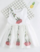 Girl's Beach Print Dress,Cotton Polyester Summer Sleeveless