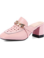 Heels Spring Summer Fall Club Shoes Cowhide Office & Career Party & Evening Dress Chunky Heel Others Chain Pink White