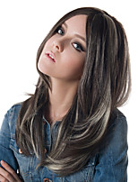 Layered Wig Grey Capless Middle Parting Wig Heat Resistant