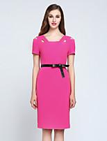 Для женщин На выход Простое Оболочка Платье Однотонный,Квадратный вырез Средней длины С короткими рукавами Розовый Черный ПолиэстерВесна