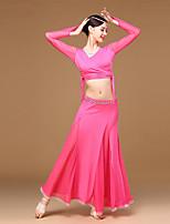 Dança do Ventre Roupa Mulheres Treino Fibra de Leite Amarrotado Recortes 3 Peças Manga Comprida Alto Casaco Saia Topo :32 :33 :34