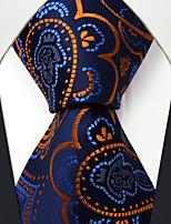 Q8   New Men's Neckties Navy Blue Abstract 100% Silk Business Jacquard Woven Handmade Dress