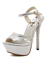 Sandals Spring Summer Fall Club Shoes Synthetic Office & Career Party & Evening Dress Buckle Silver Gold