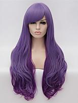 perruques cosplay dégradé violet perruques couleur perruque en Europe et Amérique mode des points partiels long cheveux bouclés 26 pouces