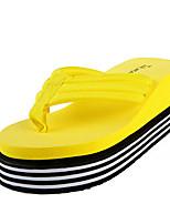 Women's Slippers & Flip-Flops Summer PU Outdoor Casual Flat Heel White Black Yellow Fuchsia