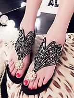 Sandals Summer Comfort PU Dress Flat Heel Rhinestone Black Pink Purple