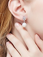 Drop Earrings Pearl Crystal Candy Pink Jewelry Daily Casual 1 pair