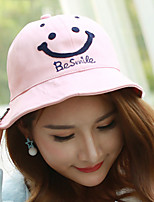 Women Embroidery Smiley Face Printing Dome Pot Fisherman Leisure Sun Basin Cap
