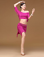 Belly Dance Outfits Women Girl Training Modal Tassel(s) 2 Pieces Half Sleeve Dropped Top Skirt