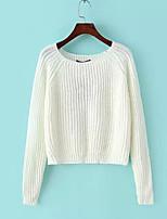Damen Kurz Pullover-Ausgehen Solide Rundhalsausschnitt Langarm Baumwolle Herbst Mittel Dehnbar