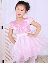 Children's Ballet Performance Dance Dress Polyester/Cotton Splicing Bows 1 Pieces Short Sleeve Dress Pink Kid's Dancewear