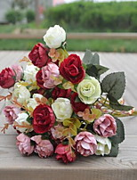 1 Branch Plastic Roses Tabletop Flower Artificial Flowers Random Color