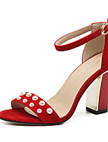 Sandals Summer Club Shoes Fleece Dress Chunky Heel Imitation Pearl Black Red