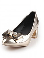 Heels Spring Fall Comfort Leatherette Office & Career Dress Casual Chunky Heel Bowknot Pink Gold Sliver