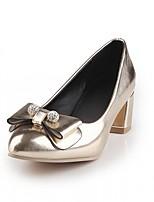 Damen-High Heels-Büro Kleid Lässig-Kunstleder-Blockabsatz-Komfort-Rosa Gold Silber