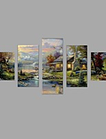 HD Print European Morning in the mountains Elk scenery Painting Wall Art 5pcs/set Home Decor (No Frame)