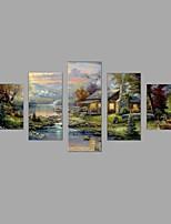 Tela de impressão Paisagem Vida Imóvel Pastoril Estilo Europeu,5 Painéis Tela Qualquer Forma Impressão artística Decoração de Parede For