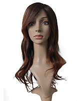 Long Brown Wig Synthetic Fiber With Side Part Heat Wig Women Party Wig