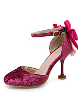 Heels Spring Summer Fall Club Shoes Leatherette Casual Stiletto Heel Bowknot Buckle Pink Red Beige
