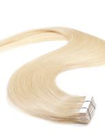 neitsi 20 '' tape 50g em 20pcs grau extensões de cabelo 5a humanos extensões de trama de pele reta lixívia loira #
