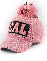 femmes automne paillettes d'hiver alphabet imprimé boule de poils casquette de baseball chaud
