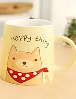 Classic Drinkware 400ml Decoration Ceramic  Coffee Milk Daily Drinkware Straws(Random Cartoon)