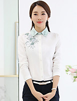 Women's Going out Simple Spring Fall Shirt,Print Stand Long Sleeve White Cotton Polyester Medium