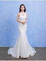 בתולת ים \ חצוצרה שמלת חתונה - שיק ומודרני קו תחתון פשוט שובל סוויפ \ בראש קולר תחרה סאטן טול עם חרוזים תחרה