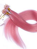10A Best Quality Hair Micro Loop Ring Hair Extensions Color Pink Virgin Hair Straight 100g Virgin Brazilian Hair Human Hair Extension tangle free